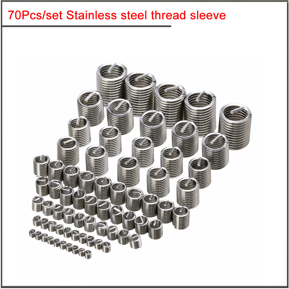 70pcs Silver M2-M12 Stainless Steel Thread Sleeve Thread Repair Insert Kit Set Stainless Steel For Hardware Repair Tools