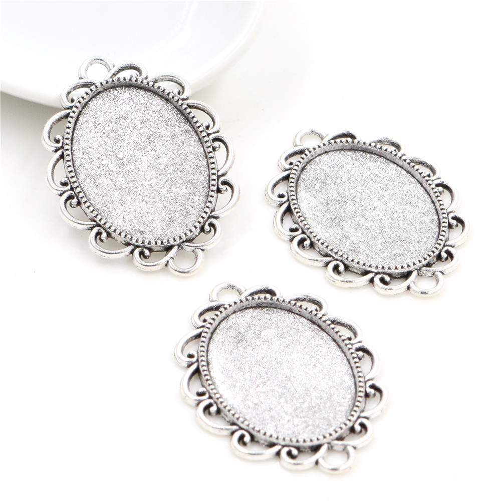 10pcs 18x25mm Inner Size Antique Silver Plated Flowers Style Cameo Cabochon Base Setting Pendant Necklace Findings  (C2-22)