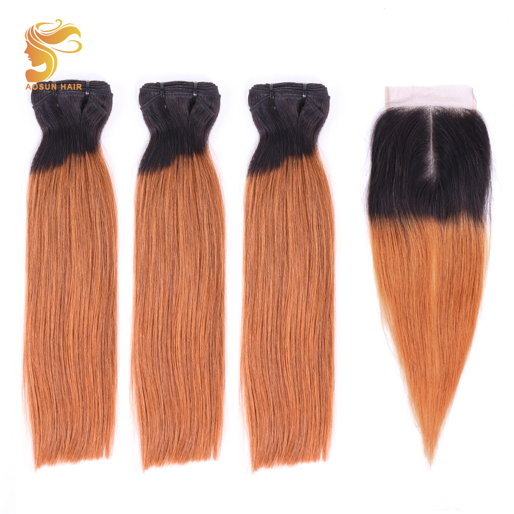 AOSUN Hair Fumi Bone Straight Brazilian Hair Bundles With Closure 3PCS Remy Human Hair With Closure 1b/30 Double Drawn 10-20inch