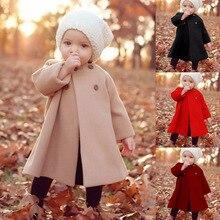 Зимнее пальто для маленьких девочек; новое модное шерстяное пальто для девочек; осенняя куртка; теплая Длинная Верхняя одежда; детское ветрозащитное пальто для новорожденных