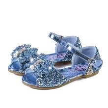 Disney Frozen Elsa Princess Sandals Girls Leather Crystal Shoes Glitter Flat Girls Sandals Pink Blue Silver Elsa Soft Shoes