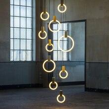 Современные креативные золотистые акриловые подвесные лампы