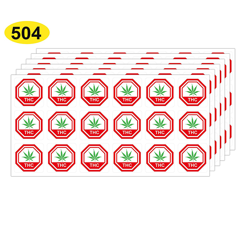 Medical THC Labels, 25mm 1 Inch Square Warning Stickers, 504 Labels