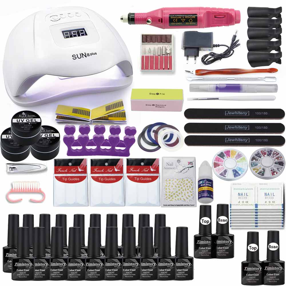 120/54/36W LED Nail Lamp Set 20/10 Color Polish With Electric Nail Drill Soak Off Manicure Kit Acrylic Nail Kit Nail Polish Set