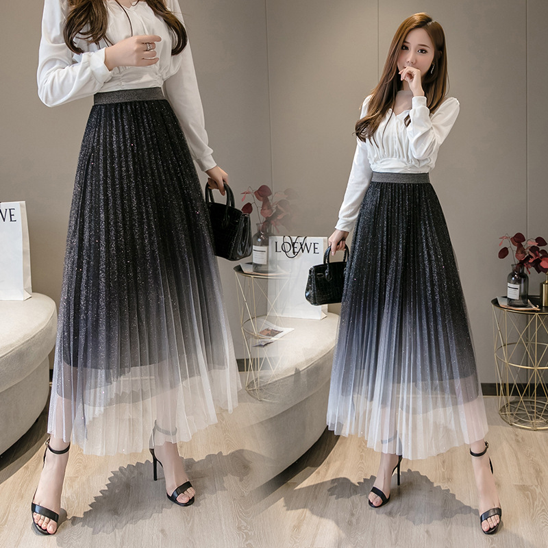 Photo Shoot Skirt 2020 Spring And Summer Pleat Gradient Mesh Skirt Hot Silver Powder Fairy Skirt High-waisted A- Line Full Skirt
