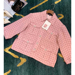 Image 2 - Cosmicchic 2020 Runway Women Tweed Jacket Single Breasted Pink Plaid Pocket Short Coat Weave Jackets Elegant Office Clothes