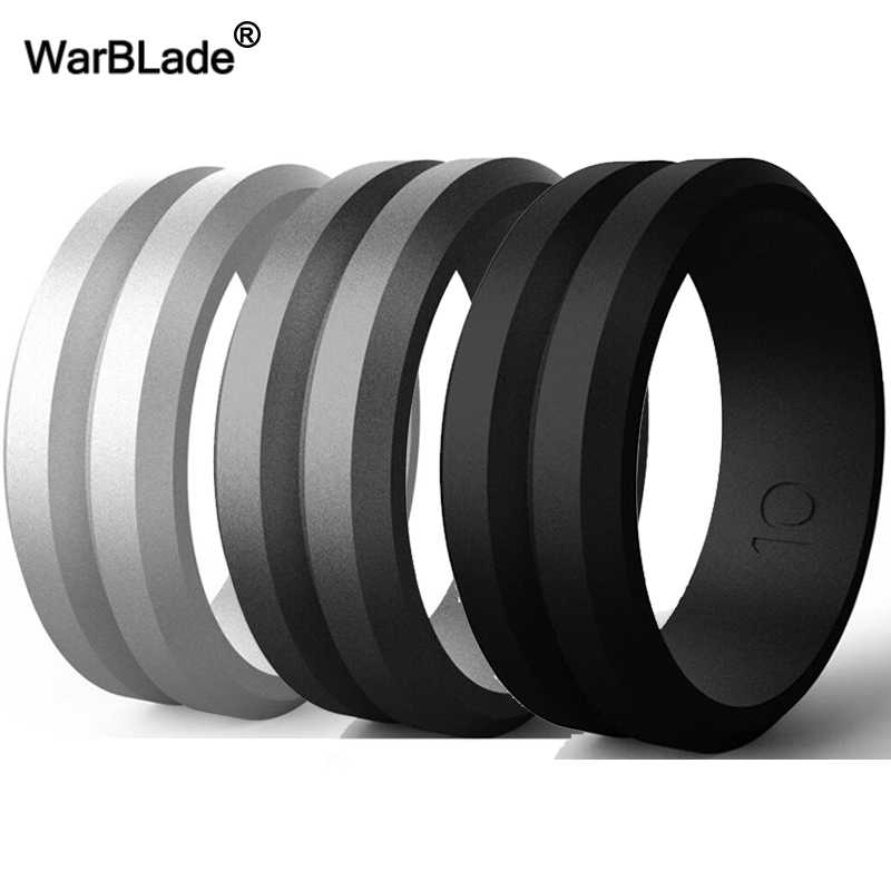 WarBLade V-groove Silicone Rings Food Grade FDA Silicone Finger Ring Hypoallergenic Sport Antibacterial Men Wedding Rubber Bands