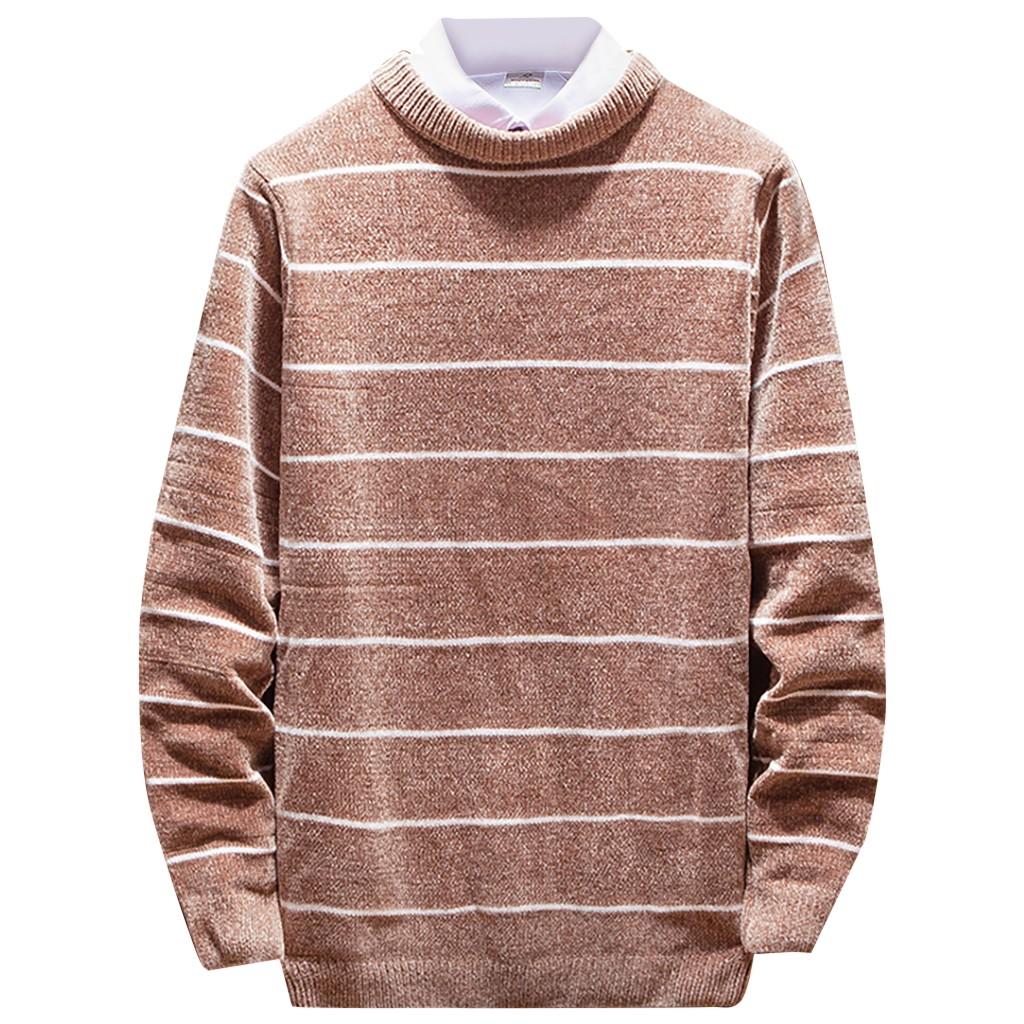 Men's New Autumn Winter Casual Long Sleeve Knitting Sweaters Tops Blouse Casual Tops Knitted Sweater Long Striped Malesweater