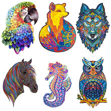 DIY Wood Puzzles Jigsaw For Adult Unique Shape Animal Wolf 3D Puzzle For Kids Educational Puzzle Fabulous Interactive
