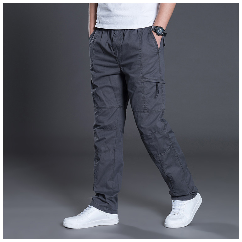 Zipper Cargo Pants Men Pocket OutDoor Full Length Pants Male Summer Straight Trousers Homme Loose Cotton Casual Pants Grey