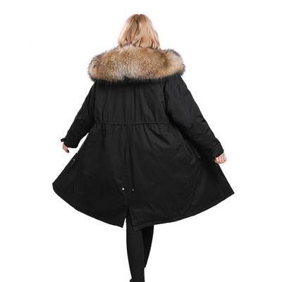 New 2020 Winter Warm Down Jackets Women Raccoon Fur Long Hooded Coat Oversize Parkas Abrigos De Mujer Invierno LX2239