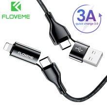 FLOVEME 4in1 kablosu 3A için hızlı şarj USB kablosu iPhone12 11 USB tipi C kablosu için Xiaomi Samsung telefonu aksesuarları şarj kablosu