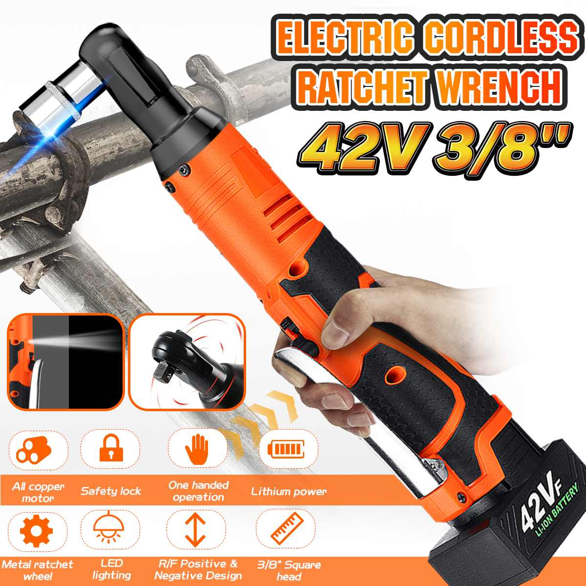 Doersupp  Electric Wrench 3/8'' 42V Cordless Ratchet Wrench With LED Light Electric Ratchet Wrenches Rechargeable 90Nm Torque