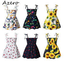Girls Dresses Strap Children Clothes Flower-Print Cotton Kids Summer Casual 1-7-Years