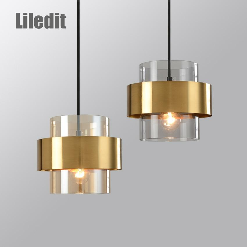 Modern glass hanging lamp restaurant coffee bar suspension lighting fixture gold wrought iron glass shade creative pendant light