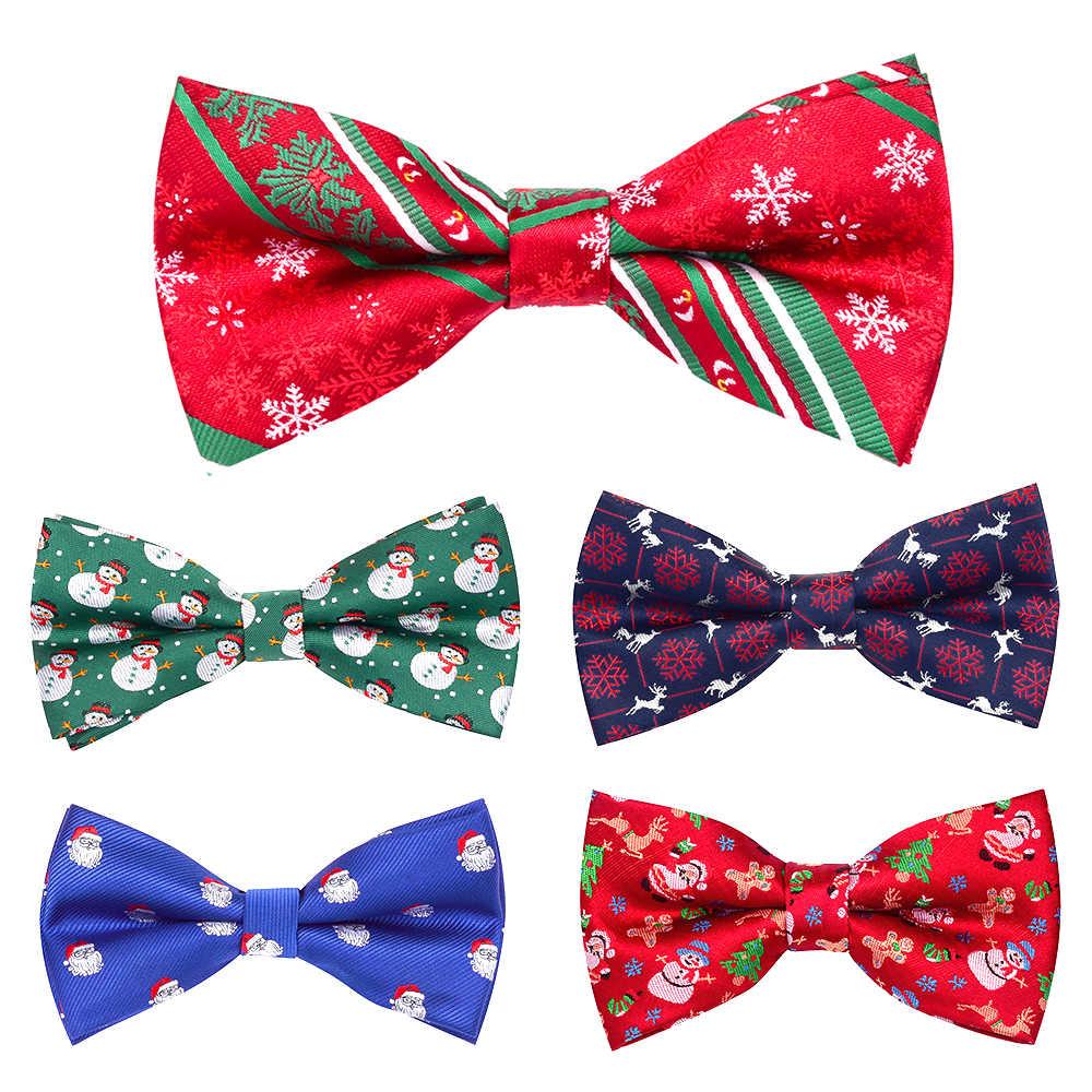 GUSLESON חג המולד עניבות פרפר לגברים פסטיבל נושא עניבת פתית שלג עץ חג המולד דפוס Mens משי חג המולד מפלגה מתנות