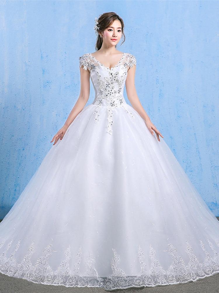 Wedding-Dress Lace-Up Vestido-De-Noiva Elegant White Plus-Size Luxury Crystal Appliques