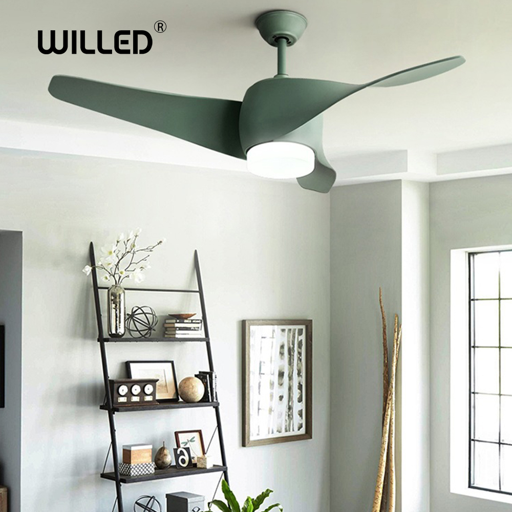 52 inch wood led Ceiling Fan With Lights Remote Control <font><b>Inverter</b></font> air <font><b>220</b></font> V Bedroom Lights Fans Lamp LED Bulbs wooden Ultra-quiet image