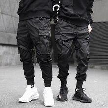 Брюки султанки мужские с лентами, модные штаны в стиле хип хоп, уличные спортивные штаны в стиле Харадзюку, повседневные тактические джоггеры Карго