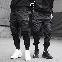 Mens Fashion Multi Pocket Harem Hip Hop Pant Ribbons Trousers Harajuku Street Sweatpant Male Casual Tactical Cargo Pant Joggers