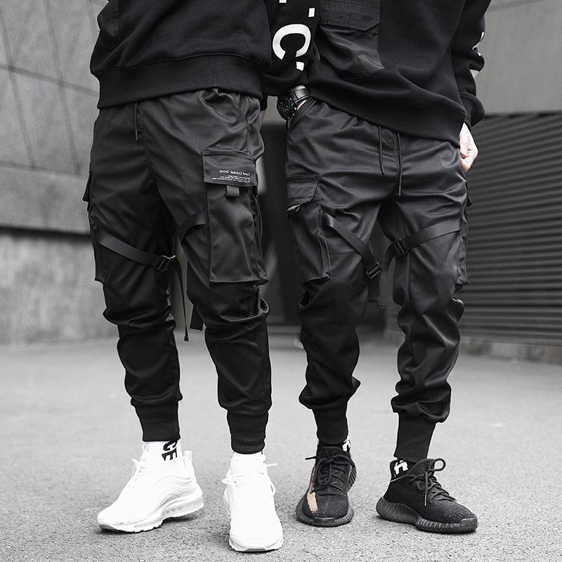 NIGRITY Mens Multi-pocket Harem Hip Hop Pant Ribbons Trousers Streetwear Hombre Sweatpant Male Casual Fashion Cargo Pant Joggers