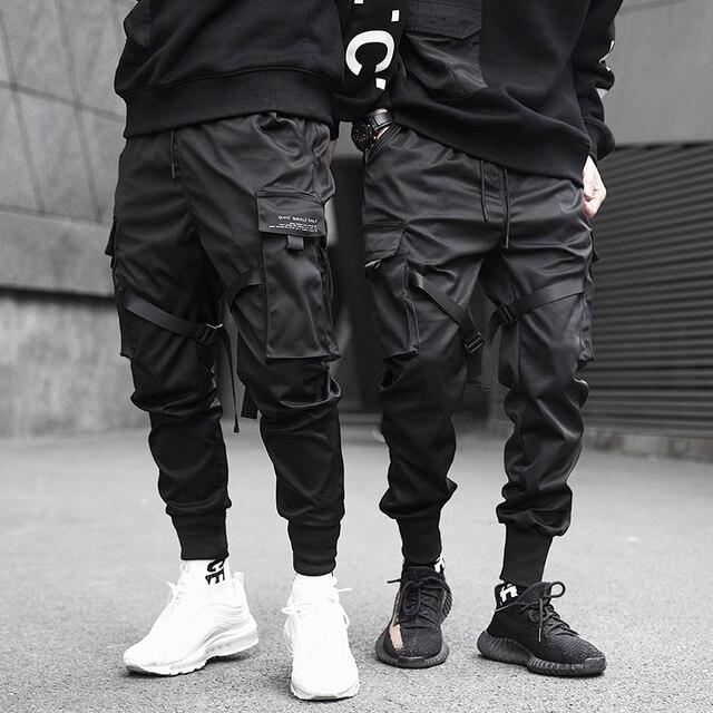 Pantalones bombachos con múltiples bolsillos para hombre, pantalón de chándal estilo Hip Hop informal, con cintas, para correr