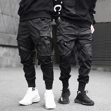 メンズファッションマルチポケットハーレムヒップホップパンツリボンズボン原宿ストリートsweatpant男性カジュアル戦術的な貨物パンツジョギング