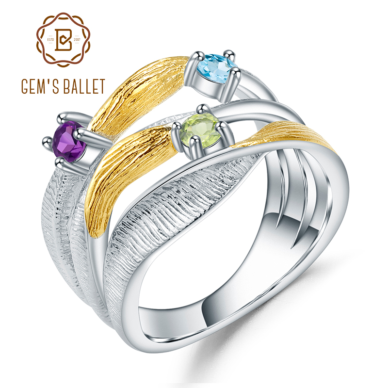 GEM'S BALLET 925 Sterling Silver Handmade Band Twist Rings Natural Peridot Amethyst Topaz Gemstones Ring For Women Bijoux
