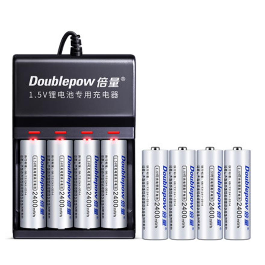 8PCS original 1.5v AA 2400mWh rechargeable battery large capacity rechargeable lithium battery + 4 slot USB smart charger image