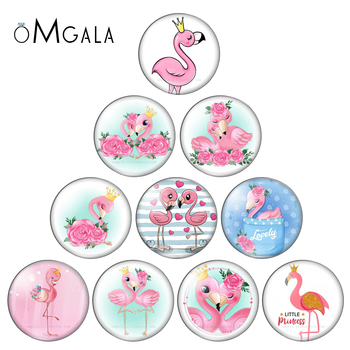 Fashion Cartoon Beauty Love Flamingo Animals 10pcs 12mm/18mm/20mm/25mm Round photo glass cabochon demo flat back Making findings - discount item  10% OFF Jewelry Making