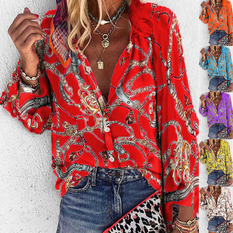 5XL Chains Print Blouses Woman Sexy V-Neck Button Long Sleeve Shirt 2019 Womens Elegant Autumn New Tops Blouse Plus Size