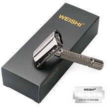 WEISHI mango corto clásico giro para abrir maquinilla de afeitar de doble filo
