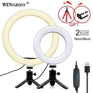 Image 1 - 6 w 10 w 16cm 26cm LED pierścień światła uchwyt telefonu Selfie Mini statyw pierścień lampa dla iphone huawei xiaomi Youtube transmisja na żywo Vide