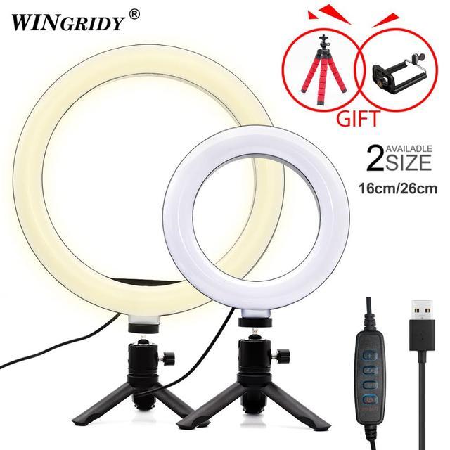 6 w 10 w 16cm 26cm LED pierścień światła uchwyt telefonu Selfie Mini statyw pierścień lampa dla iphone huawei xiaomi Youtube transmisja na żywo Vide