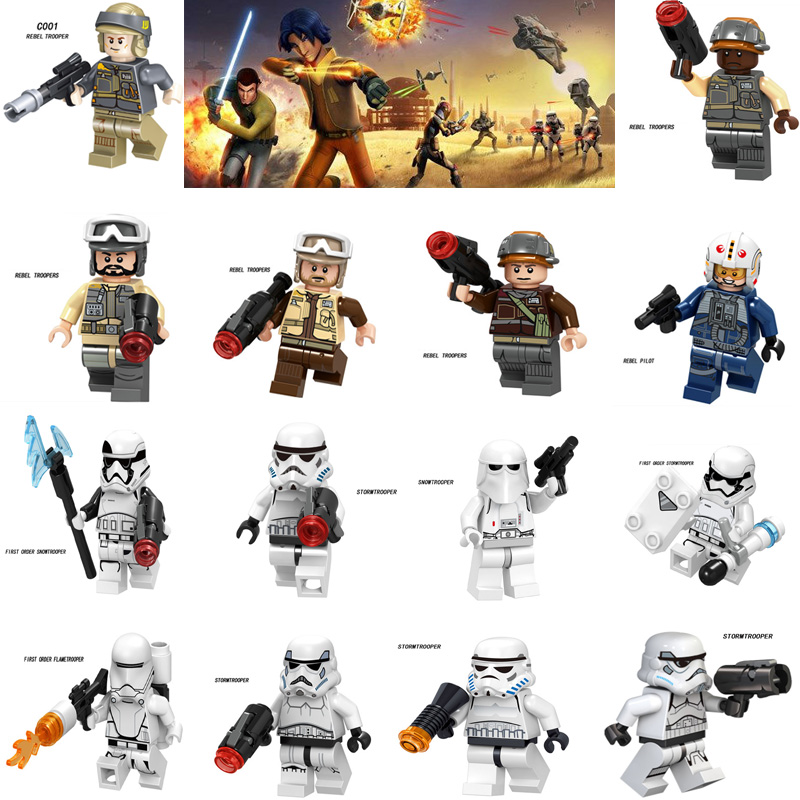 Legoingly Star Imperial Pilot Rebel Troopers Soldier Battle Wars Storm Troopers Building Blocks Star Plan Toys Kids Boys Gift