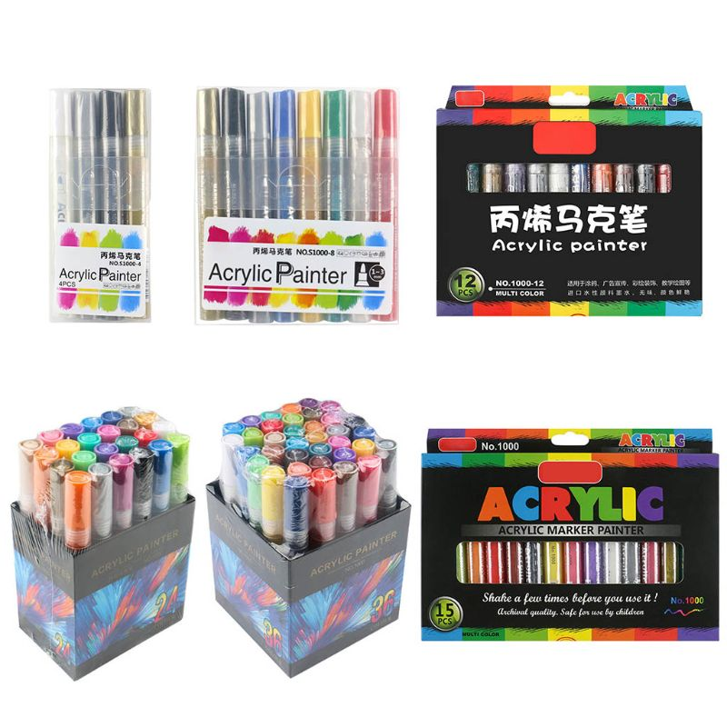 4/8/12/15/24/36 Colors Acrylic Paint Marker Pen Detailed Marking For DIY Album 95AF