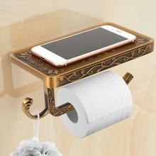 Paper Holder Antique Carved Zinc Alloy Bathroom Paper Mobile Phone Holder With Shelf Bathroom Towel Rack Toilet Tissue Boxes цена 2017