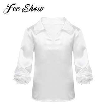 Kids Boys Satin Latin Dance Shirt Tops Children Ballet Jazz Tango Ballroom Practice Dancing Clothing Modern Contemporary Costume - discount item  27% OFF Stage & Dance Wear