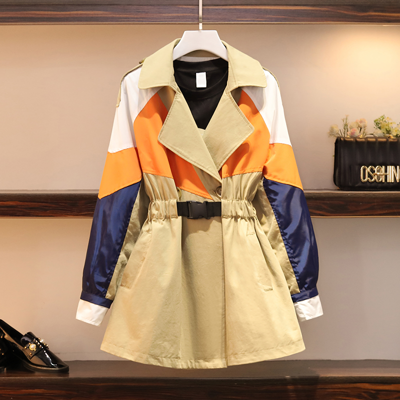 2020 New Plus Size Women's Spring Autumn Long Trench Coat Casual Long Sleeve Windbreaker Outerwear M68