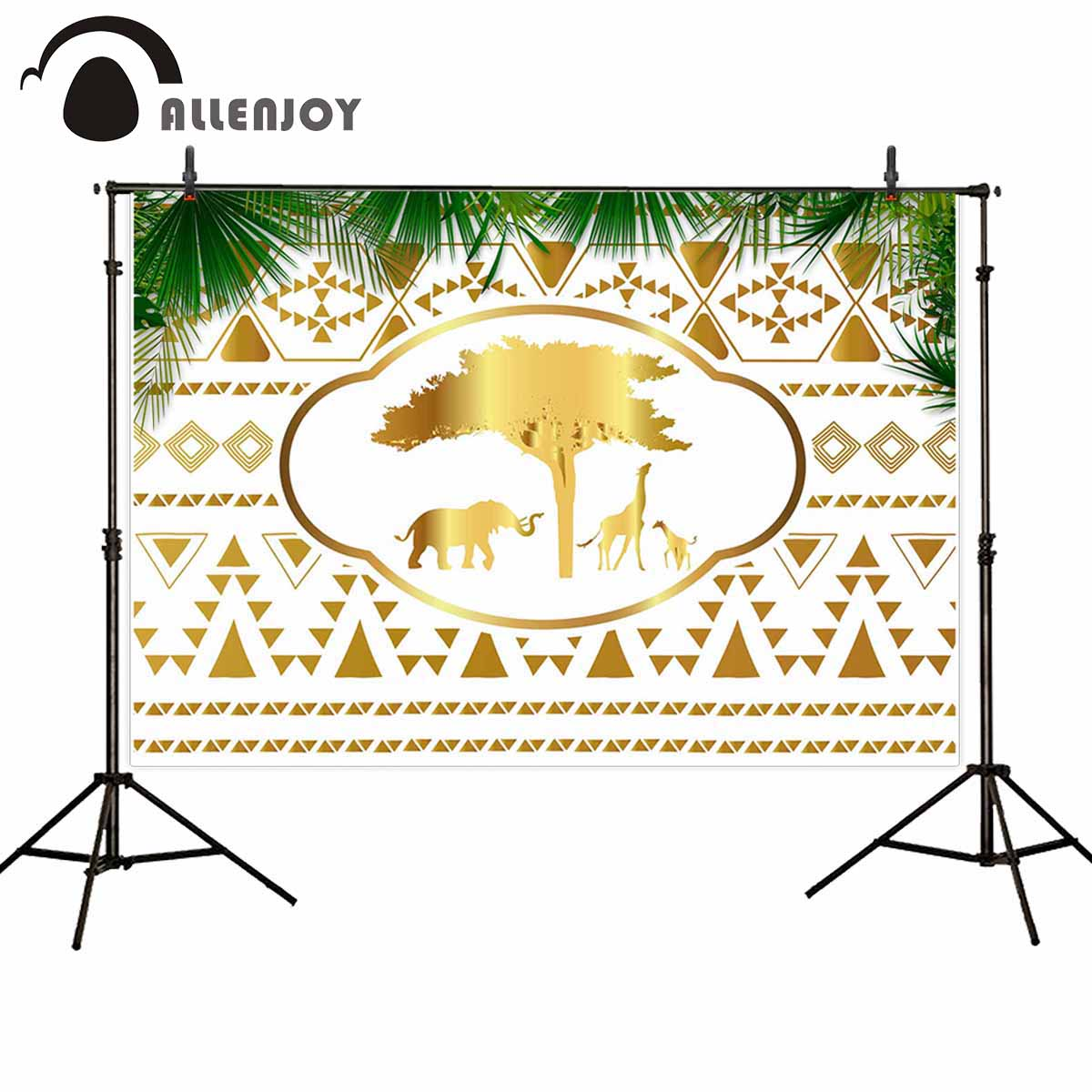 Allenjoy Golen Wild One Backdrops Forest Elephant Tree Giraffe Geometric Spring Party Background Tropical Leaves Party Photozone