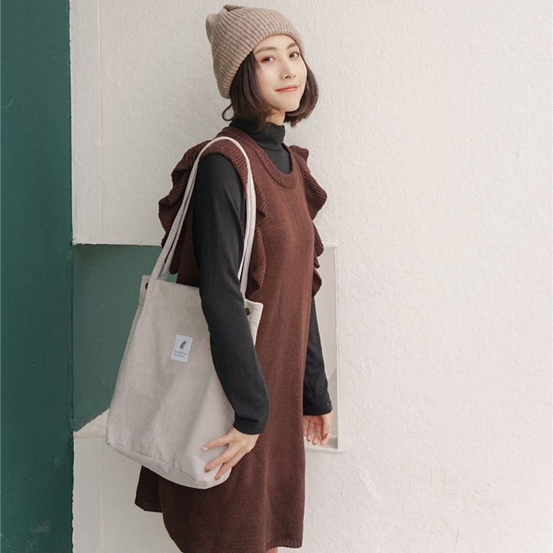 Women Corduroy Shopping Bag Female Canvas Cloth Shoulder Bag Environmental Storage Handbag Reusable Foldable Eco Grocery Totes 5