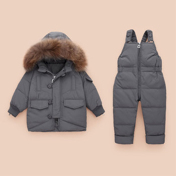Children Winter Down Jacket Clothing Sets Toddler Boys & Girls Warm Down Coats + Overalls Kids Winter suit For Girls 1-4 Years