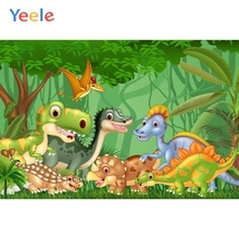 Yeele Cartoon Dinosaur Backdrop Forest Jungle Kids Baby Birthday Party Custom Vinyl Photography Background For Photo Studio