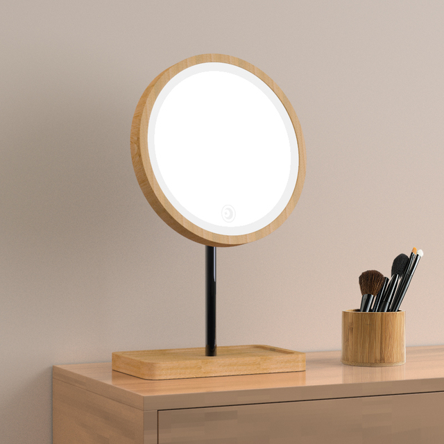 Wooden Desktop LED Makeup Mirror 3X Magnifying USB Charging Adjustable Bright Diffused Light Touch Screen Beauty Mirrors 4