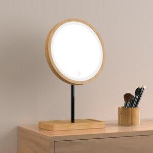 Image 4 - Houten Desktop Led Make Up Spiegel 3X Vergrootglas Usb Opladen Verstelbare Bright Diffuus Licht Touch Screen Beauty Spiegels