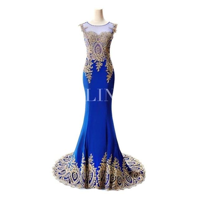 HOT SALE vestido de festa Prom dresses 2021 Long Mermaid Dresses Gold Appliques Royal Blue Kaftan Dubai dress Formal Party Dress 3