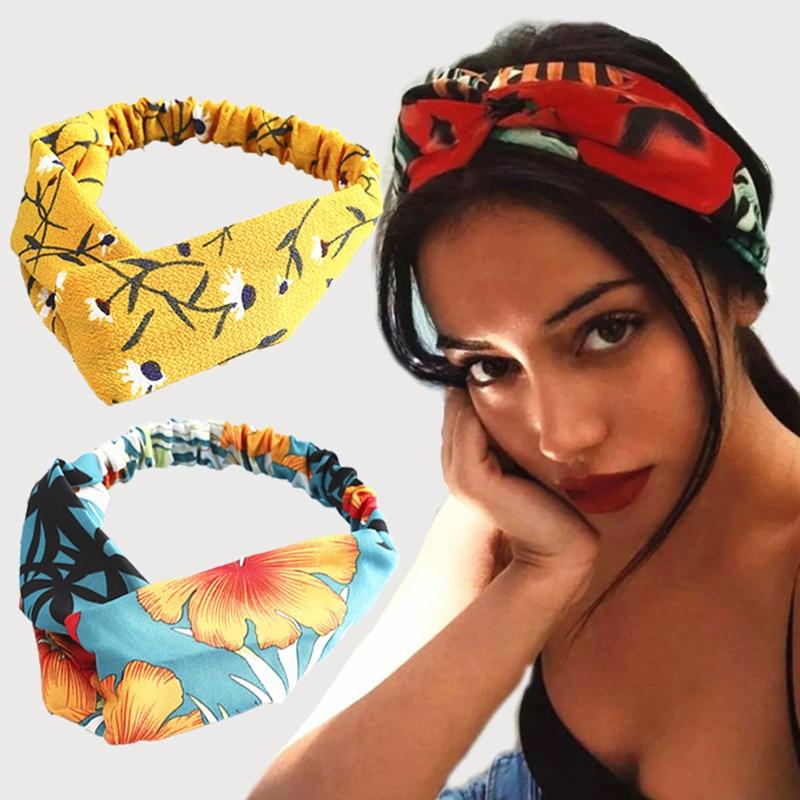 Аксессуары для волос, Детская мода 2020, повязка на голову из ткани с перекрестными узелками и бантом, шифоновая Цветочная повязка для волос, к...
