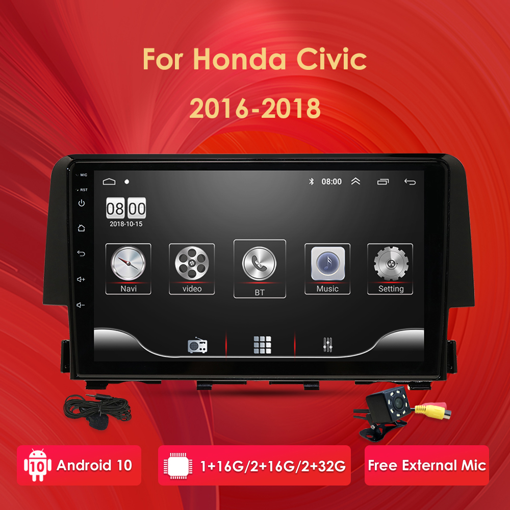 Car Multimedia Player Android 10 OS 2 Din Car GPS Navigation Bluetooth Car Stereo Radio Only for Honda <font><b>Civic</b></font> 2016-2018 WiFi DVR image