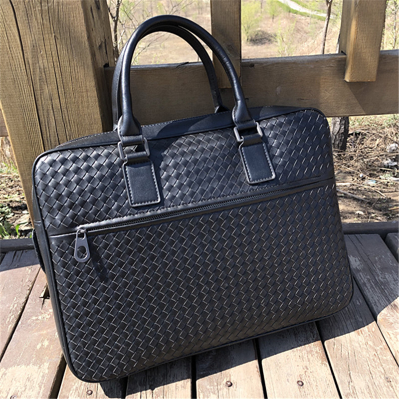 Kaisiludi Leather Man Bag Woven Leisure Briefcase Large Capacity Men's 15-inch Computer Bag Shoulder Bag