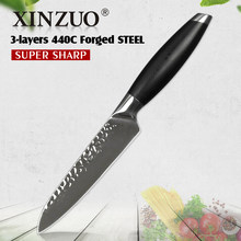 XINZUO 5'' inch Utility Knife 3 Layers 440C Stainless Steel Kitchen Knife G10 Handle Samura Fruite Paring Knives(China)